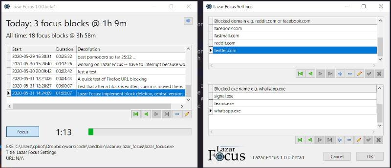 Figure 2: Screenshot of Lazar Focus 1.0.0.beta1, main window on the left, settings dialog on the right.