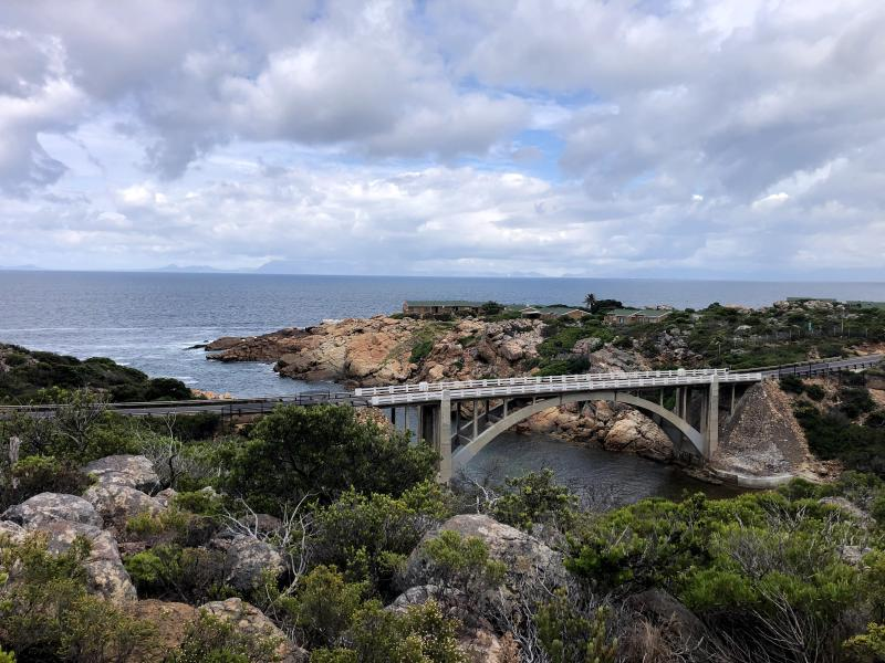 Figure 1: View of the bridge over the mouth of the Steenbras River, taken from our anniversary hike up Steenbras Gorge to the Crystal Pools and back.