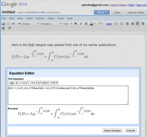 Screenshot of Google Docs equation editor.